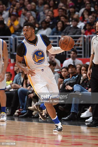Leandro Barbosa of the Golden State Warriors handles the ball against the Los Angeles Clippers on February 20 2016 at STAPLES Center in Los Angeles...