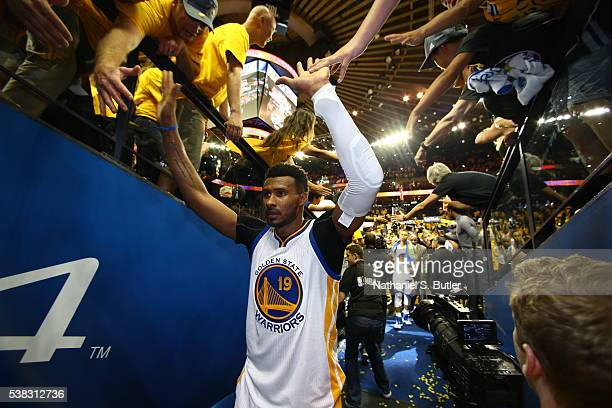 Leandro Barbosa of the Golden State Warriors high fives fans after Game Two of the 2016 NBA Finals against the Cleveland Cavaliers on June 5 2016 at...