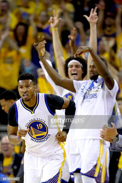 Leandro Barbosa of the Golden State Warriors reacts after scoring a threepoint basket against the Cleveland Cavaliers in Game 7 of the 2016 NBA...