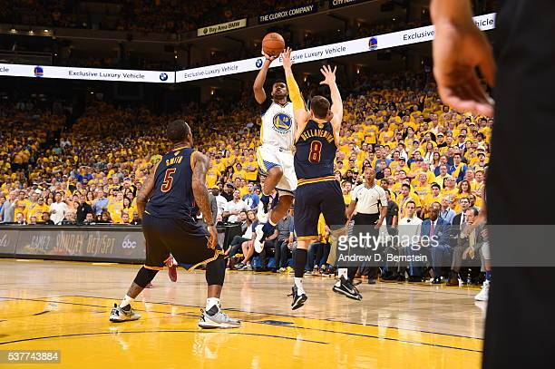 Leandro Barbosa of the Golden State Warriors shoots against the Cleveland Cavaliers in Game One of the 2016 NBA Finals on June 2 2016 at Oracle Arena...