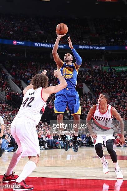 Leandro Barbosa of the Golden State Warriors shoots against the Portland Trail Blazers on November 2 2014 at the Moda Center Arena in Portland Oregon...