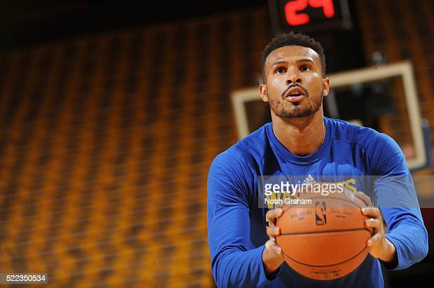 Leandro Barbosa of the Golden State Warriors warms up before the game against the Houston Rockets in Game Two of the Western Conference Quarterfinals...