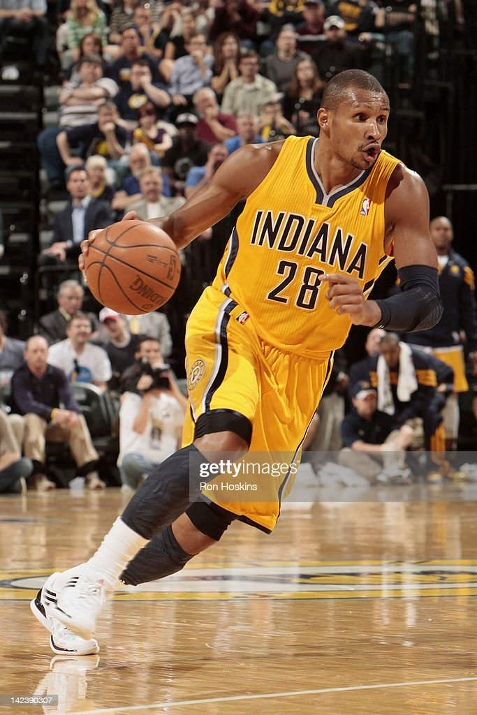 Leandro Barbosa #28 of the Indiana Pacers controls the ball during the game against the New York Knicks on April 3, 2012 at Bankers Life Fieldhouse in Indianapolis, Indiana.