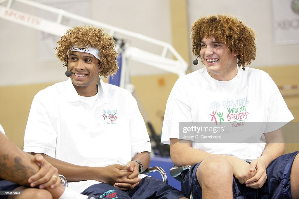 Leandro Barbosa of the Phoenix Suns and Anderson Varejao of the Cleveland Cavaliers appear on MTV Brazil at the Pinheiros Sports Club during Basketball Without Borders on August 3, 2007 in Sao Paulo, Brazil.
