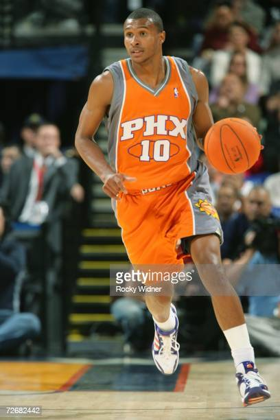 Leandro Barbosa of the Phoenix Suns brings the ball upcourt during the game against the Golden State Warriors on November 20 2006 at Oracle Arena in...