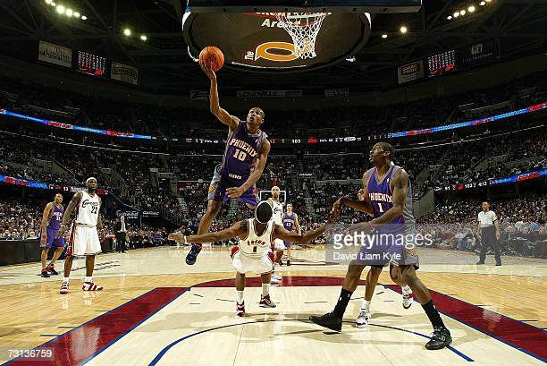 Leandro Barbosa of the Phoenix Suns draws the blocking foul on Daniel Gibson of the Cleveland Cavaliers on January 28 2007 at The Quicken Loans Arena...