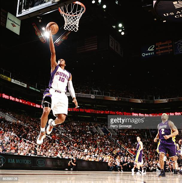Leandro Barbosa of the Phoenix Suns drives to the basket for a layup during the game against the Los Angeles Lakers at US Airways Center on March 1...