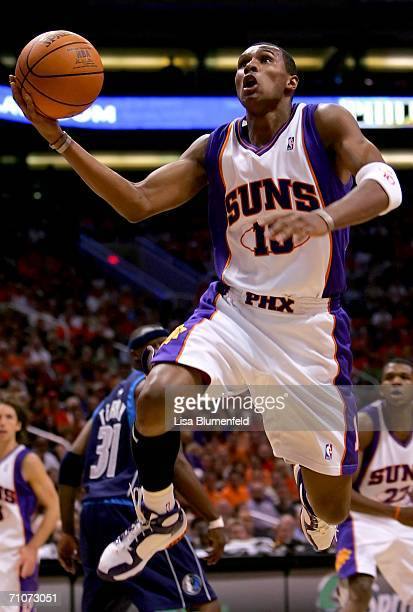 Leandro Barbosa of the Phoenix Suns goes to the basket in game three of the Western Conference Finals against the Dallas Mavericks during the 2006...