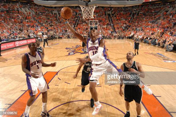 Leandro Barbosa of the Phoenix Suns goes to the hoop against Tony Parker of the San Antonio Spurs in Game Two of the Western Conference Semifinals...