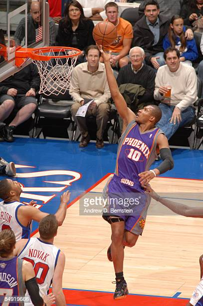 Leandro Barbosa of the Phoenix Suns goes up for a layup against the Los Angeles Clippers at Staples Center on February 18 2009 in Los Angeles...