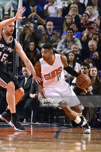 Leandro Barbosa of the Phoenix Suns handles the ball during the game against the San Antonio Spurs on December 15 2016 at US Airways Center in...
