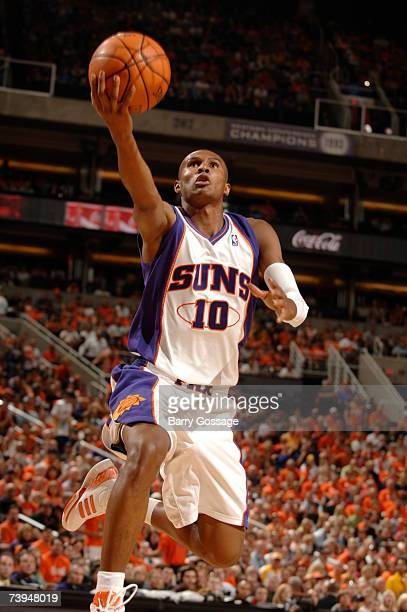 Leandro Barbosa of the Phoenix Suns makes the steal and takes it full court for a layup against the Los Angeles Lakers in Game One of the Western...
