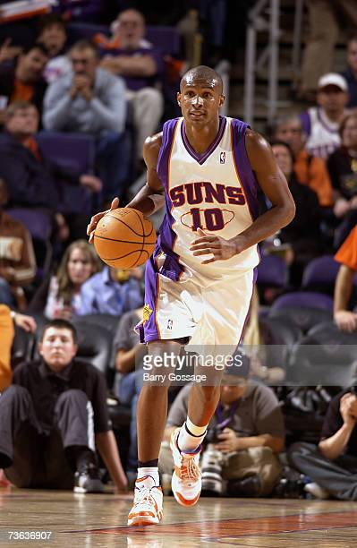 Leandro Barbosa of the Phoenix Suns moves the ball against the Indiana Pacers during the game on March 2 at US Airways Center in Phoenix Arizona The...