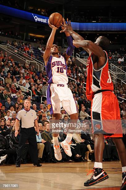 Leandro Barbosa of the Phoenix Suns puts up a shot against the Charlotte Bobcats at US Airways Center on February 4 2008 in Phoenix Arizona NOTE TO...