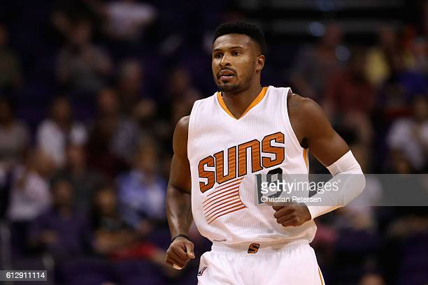 Leandro Barbosa of the Phoenix Suns runs down court during the first half of the preseason NBA game against the Utah Jazz at Talking Stick Resort...