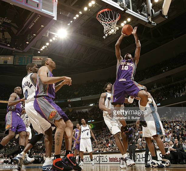 Leandro Barbosa of the Phoenix Suns shoots against the Washington Wizards during the game at the Verizon Center on January 23 2007 in Washington DC...