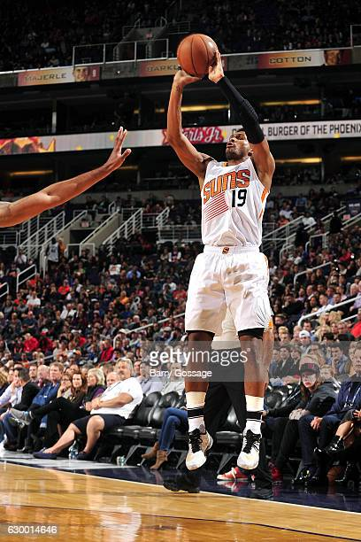 Leandro Barbosa of the Phoenix Suns shoots the ball during the game against the San Antonio Spurs on December 15 2016 at US Airways Center in Phoenix...
