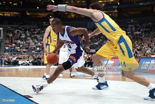 Leandro Barbosa of the Phoenix Suns tries to go to the basket against Yaniv Green of Maccabi Elite Tel Aviv during the preseason game as part of the...