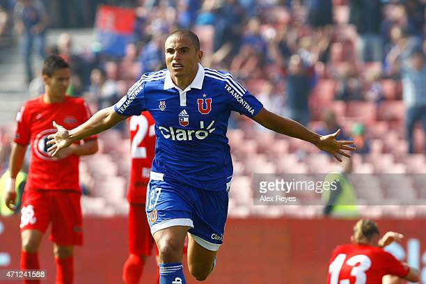 Leandro Benegas of U de Chile celebrates after scoring the second goal of his team against Ñublense during a match between U de Chile and Ñublense as...