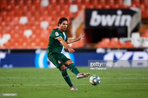 Leandro Cabrera of RCD Espanyol plays the ball during the Liga match between Valencia CF and RCD Espanyol at Estadio Mestalla on July 16 2020 in...
