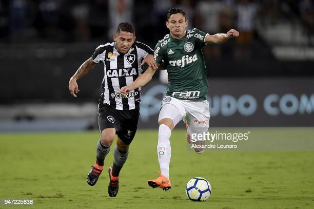 Leandro Carvalho of Botafogo struggles for the ball with Diogo Barbosa of Palmeiras during the match between Botafogo and Palmeiras as part of...
