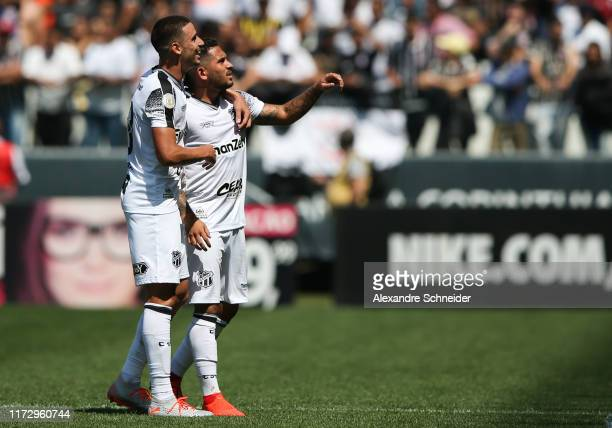 Leandro Carvalho of Ceara celebrates with teammate Thiago Galhardo after scoring the second goal of their team during the match against Corinthians...