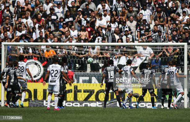 Leandro Carvalho of Ceara scores the second goal of his team during the match agains Corinthians for the Brsileirao Series A 2019 at Arena...