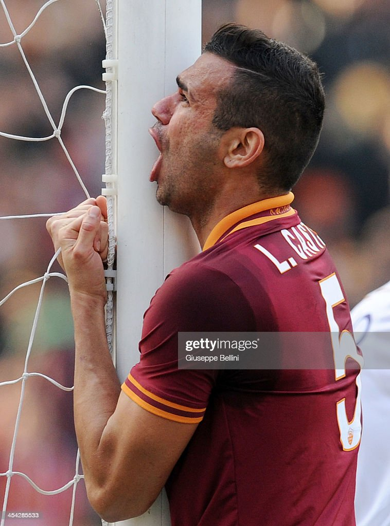 Leandro Castan of Roma reacts during the Serie A match between AS Roma and ACF Fiorentina at Stadio Olimpico on December 8, 2013 in Rome, Italy.
