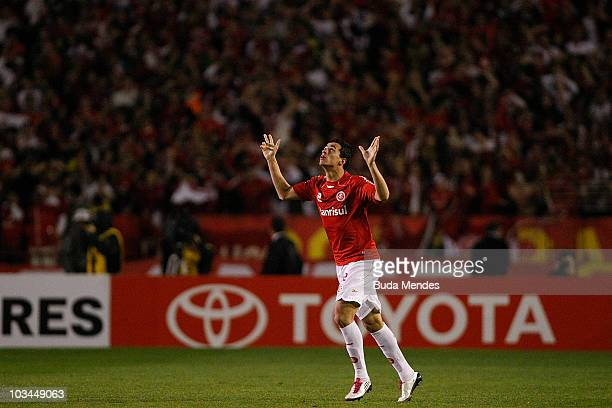Leandro Damiao of Internacional celebrates a scored goal against Chivas during a match as part of the 2010 Copa Santander Libertadores at Beira Rio...