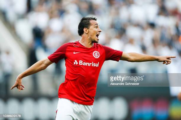 Leandro Damiao of Internacional celebrates after scoring their first goal during the match against Corinthians for the Brasileirao 2018 at Arena...