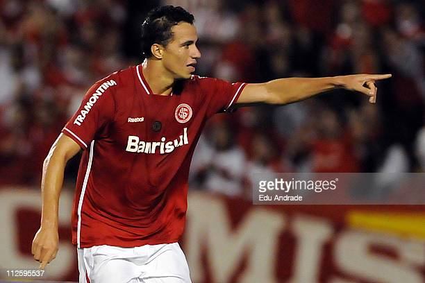 Leandro Damiao of Internacional celebrates his scored goal over Emelec during the match as part of the Santander Libertadores Cup 2011 at the...