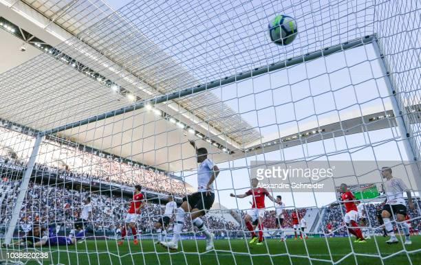 Leandro Damiao of Internacional scores their first goal during the match against Corinthians for the Brasileirao 2018 at Arena Corinthians Stadium on...