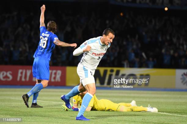 Leandro Damiao of Kawasaki Frontale celebrates scoring a goal during the AFC Champions League Group H match Kawasaki Frontale and Ulsan Hyundai at...