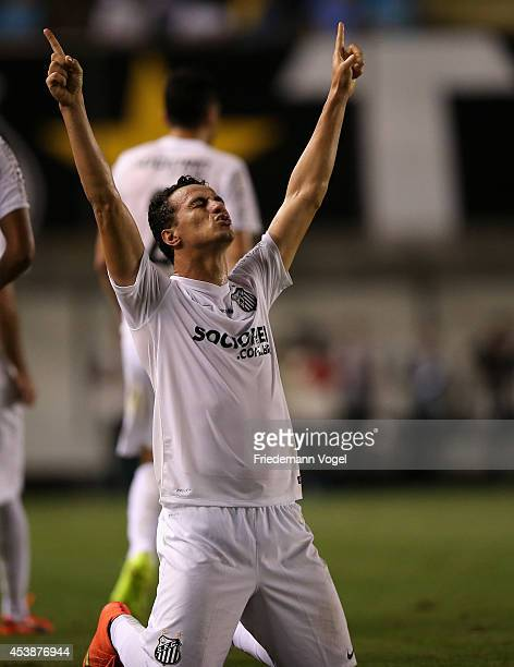 Leandro Damiao of Santos celebrates scoring the first goal during the match between Santos and Atletico PR for the Brazilian Series A 2014 at Vila...