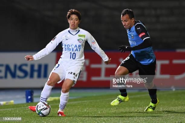 Leandro Damiao of Tokushima Vortis in action during the J.League Meiji Yasuda J1 match between Kawasaki Frontale and Tokushima Vortis at the Todoroki...