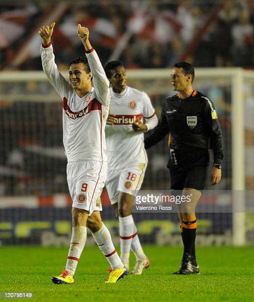 Leandro Damilao of Internacional celebrates a scored goal during a match against Independiente as part of the 2011 Recopa Sudamericana first final at...