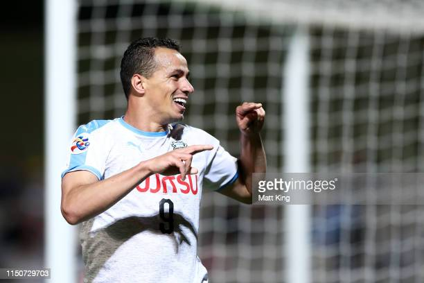 Leandro Damião of Kawasaki Frontale celebrates scoring a goal during the AFC Asian Champions League match between Sydney FC and Kawasaki Frontale at...