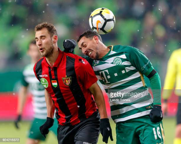 Leandro De Almeida 'Leo' #16 of Ferencvarosi TC fights for the ball with Marton Eppel of Budapest Honved during the Hungarian OTP Bank Liga match...