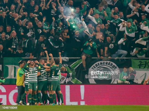 Leandro De Almeida 'Leo' of Ferencvarosi TC celebrates with teammates during the Hungarian OTP Bank Liga match between Ferencvarosi TC and Ujpest FC...