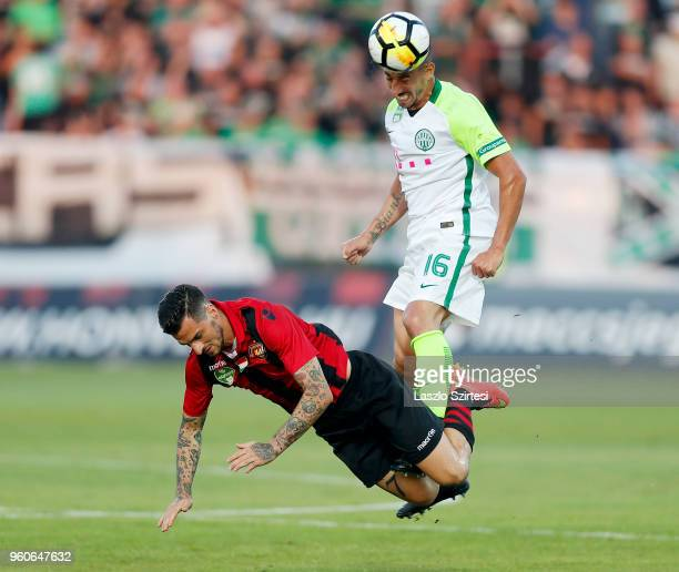 Leandro De Almeida 'Leo' of Ferencvarosi TC heads the ball while he fouls Davide Lanzafame of Budapest Honved during the Hungarian OTP Bank Liga...