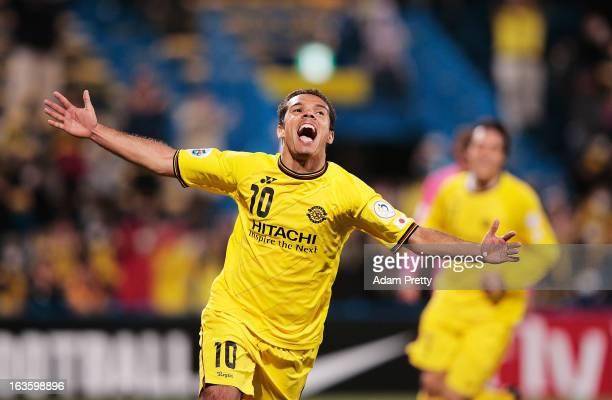 Leandro Domingues of Kashiwa Reysol celebrates scoring his second goal during the AFC Champions League Group H match between Kashiwa Reysol and...