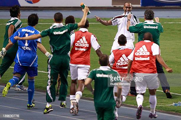 Leandro Euzebio of Fluminense celebrate a scored goal againist Botafogo during the semifinal match as part of Rio State Championship 2012 at Engenhao...