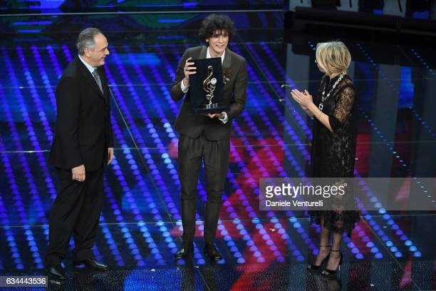 Leandro Faraldi Ermal Meta and Maria De Filippi attend the third night of the 67th Sanremo Festival 2017 at Teatro Ariston on February 9 2017 in...