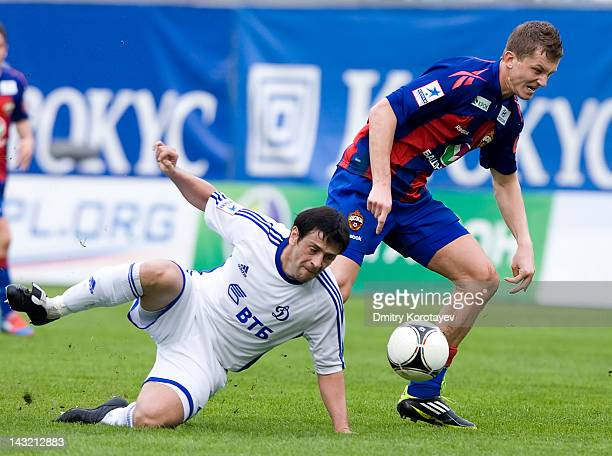 Leandro Fernandez of FC Dynamo Moscow and Tomas Necid of PFC CSKA Moscow vie for the ball during the Russian Football League Championship match...