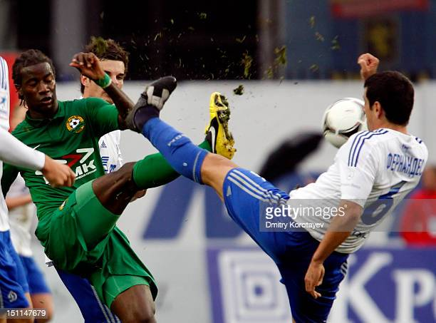 Leandro Fernandez of FC Dynamo Moscow battles for the ball with Ibrahima Balde of FC Kuban Krasnodar during the Russian Premier League match between...