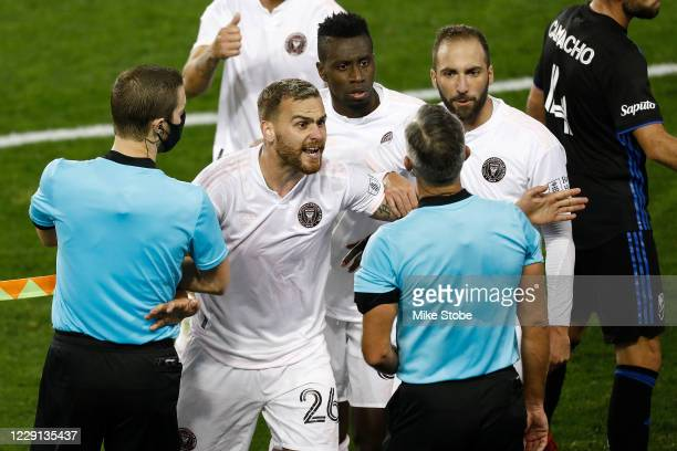 Leandro Gonzalez, Blaise Matuidi and Gonzalo Higuain of Inter Miami argue with the refs following their 2-1 lose to Montreal Impact at Red Bull Arena...