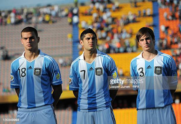 Leandro Gonzalez Pirez Matias Laba and Nicolas Tagliafico of Argentina listens to their countries national anthem during the FIFA U20 World Cup...