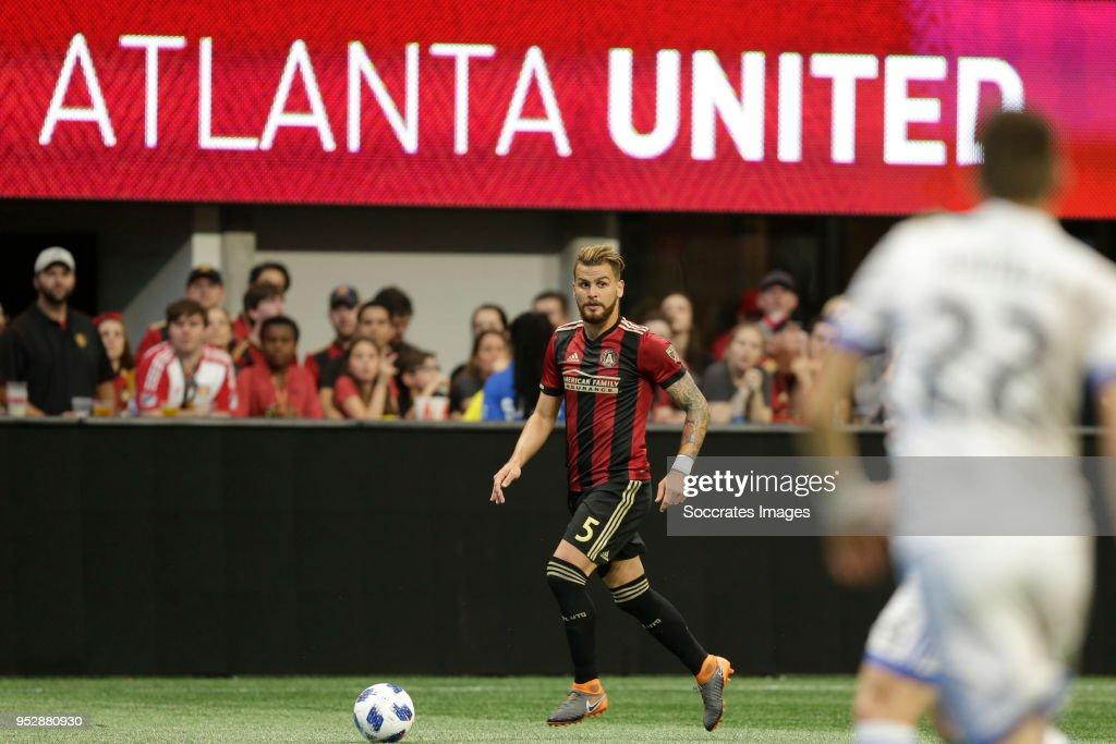 Leandro Gonzalez Pirez of Atlanta United during the match between Atlanta United FC v Montreal Impact at the Mercedes-Benz Stadium on April 28, 2018 in Atlanta United States