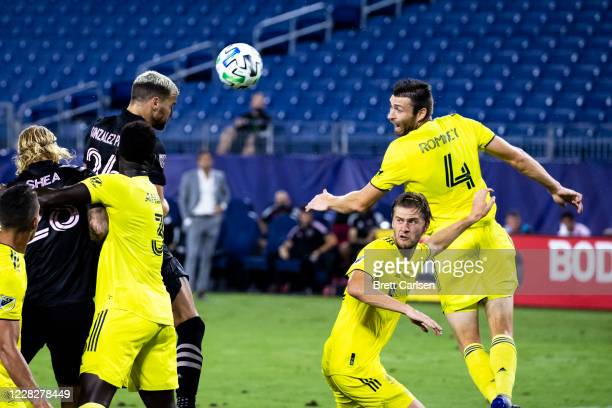 Leandro Gonzalez Pirez of Inter Miami heads the ball on goal during the second half against the Nashville SC at Nissan Stadium on August 30, 2020 in...
