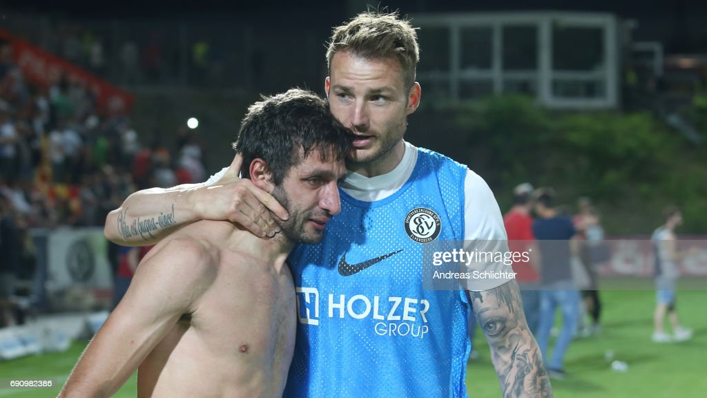 Leandro Grech and Kevin Maek of Elversberg during the Third League Playoff leg two match between SV Elversberg and SpVgg Unterhaching at Ursapharmarena on May 31, 2017 in Neunkirchen, Germany.